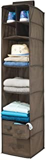 mDesign Soft Fabric Over Closet Rod Hanging Storage Organizer with 7 Shelves and 3 Removable Drawers for Clothes, Legging...