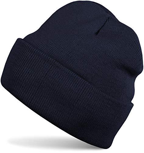 styleBREAKER Klassische Beanie Strickmütze, warme Feinstrick Mütze doppelt gestrickt, Unisex 04024029, Farbe:Navy