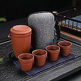Ksnrang Zisha Express Cup Copa Púrpura Barrojo de Barro Rojo Cuatro Tazas Filtro en Negrita Portátil Viaje Tea Conjunto de té-Barro Rojo