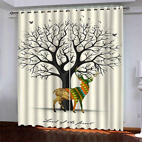 YUNSW Creative Tree 3D Digital Printing Polyester Fiber Curtains, Garden Living Room Kitchen Bedroom Blackout Curtains, Perforated Curtains 2 Piece Set