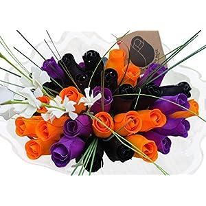 the original wooden rose black, orange, and purple halloween bouquets (3 dozen) … silk flower arrangements
