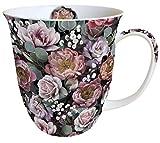 Ambiente, tazza da tè/caffè, ca. 0,4 l, motivo floreale vintage floreale, nero