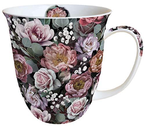 Ambiente Becher Mug Tasse Tee/Kaffee Becher ca. 0,4L Floral Vintage Flowers Black