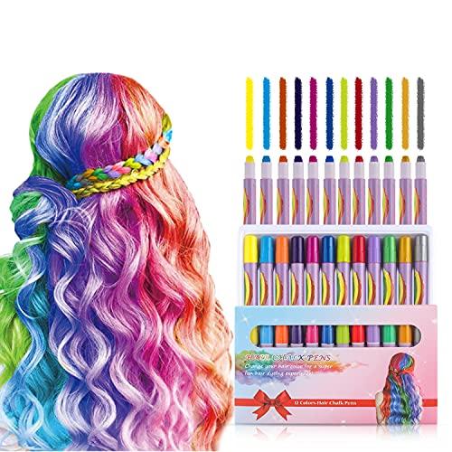 MSDADA Hair Chalk Geschenke für mädchen, Haarkreide zum Haare Färben Spielzeug für Weihnachten 12 auswaschbare Haarfärbe-Stifte für Fasching für Kinder im Alter von 13+ Jahren