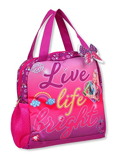 Nickelodeon JoJo Siwa Live Life Bright Insulated Soft Lunch Box Bag with Side Pocket Storage and Butterfly Charm (Multicolor)