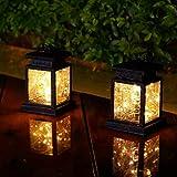 Lanterne solari da giardino da appendere con 30 LED, 2 lanterne da esterni, impermeabili, per decorazioni natalizie e feste in giardino (luce bianca calda)