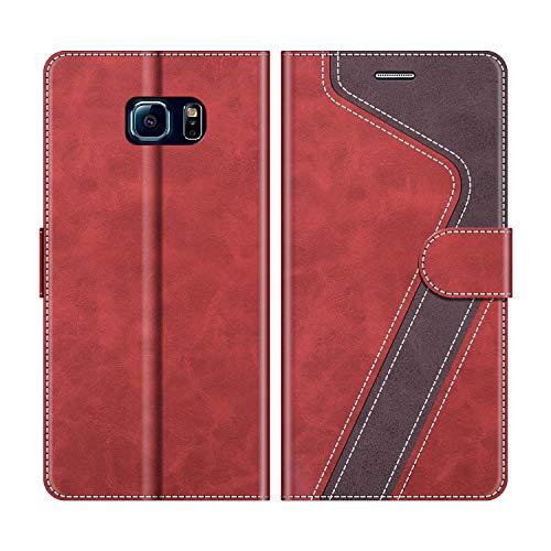 MOBESV Handyhülle für Samsung Galaxy S6 Edge Hülle Leder, Samsung Galaxy S6 Edge Klapphülle Handytasche Case für Samsung Galaxy S6 Edge Handy Hüllen, Modisch Rot