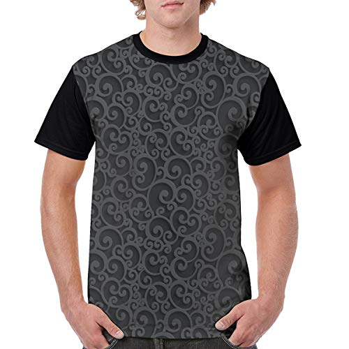 Man's T Shirts,Abstract Victorian 3D Style Swirls Vintage Ornaments Royal Classical Floral Curls X-L