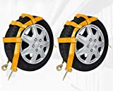 Favorite-Trade 2 Pack Orange Tow Dolly Car Basket Straps with Snap Hooks - Car Wheel Strap Tie Down (12000 lbs Working Capacity) - Universal Vehicle Tow Dolly Strap (17-21 inches)