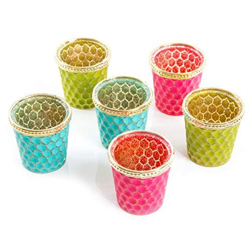 Logbuch-Verlag 6 Teelichtgläser Teelichthalter Tischdeko Geburtstag Hochzeit Sommer Party pink türkis Gold grün orientalisch asiatisch sommerlich Geschenk-Set