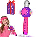 Toys for 3-12 Year Old Girls, Karaoke Microphone for Kids Karaoke Wireless Bluetooth Toy Microphone with Speaker Recording Magic Voice and Disco Dancing Light Girl Home Party Best Singing Birthday
