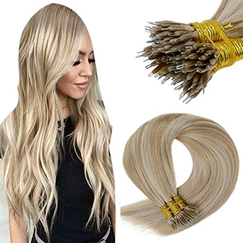 LaaVoo 20 Pouce 1g/s Extension Cheveux a Froid Naturel Pre Bonded Cheveux Humain Nano Tips Remy Lisse Hair 50s/Paquet Dark Ash Blonde Highlighted Light Blonde