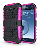 JKase Diablo Series Tough Rugged Dual Layer Protection Case Cover with Build in Stand for Samsung Galaxy Grand i9080, Samsung Galaxy Grand Duos i9082 - Retail Packaging (Pink)