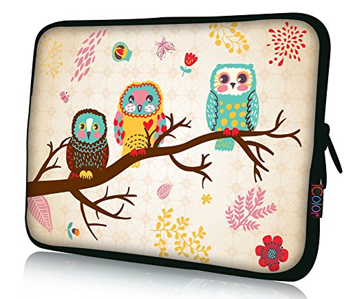 ICOLOR 15' Laptop Sleeve Bag Case 14.5' 15.4' 15.6' inch Soft Neoprene Notebook Protection Sleeve Computer PC Cover Pouch Holder-Owl