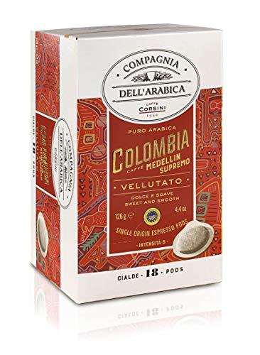 Caffè Corsini Compagnia dell'Arabica Caffè Colombia 100% Arabica Caffè Espresso in Cialde in Carta Ese 44 Mm - Cremoso e Speziato Monorigine Colombia Supremo - Pacco da 4 x 18 Cialde