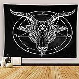 Uoopati Tapestry Wall Hanging Pentagram Demon Baphomet Satanic Goat Head Binary Symbol Tattoo Retro Music Wall Art Tapestries Tapestry for Bedroom Room Decor Picnic Mat Beach Bed Cover 28