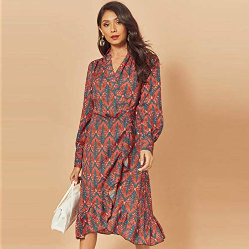 Nuevas mujeres imprimir volantes vestido primavera otoño linterna manga larga cuello en V vestidos Midi causales fajas señoras irregular dobladillo vestido