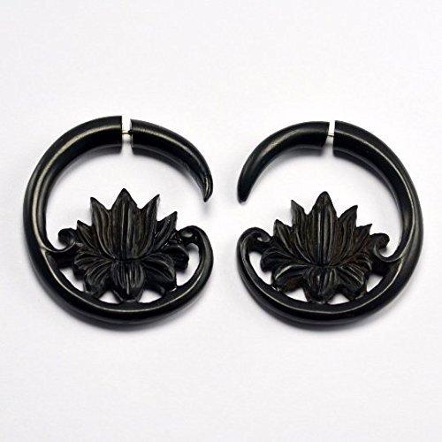 Fake Gauges – Hanging Lotus Fake Gauge Earrings - Arang - Faux Gauges