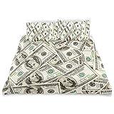 Edredón Csobre Conjunto Montón de dólares Patrón Moneda Pila con Retrato de Ben Franklin Riqueza Tema Decorativo Juego de Cama de 3 Piezas con 2 Fundas de Almohada