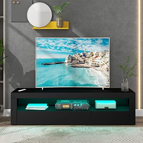 Mingfuxin Mueble de TV LED, 145 cm de largo, soporte de TV con 16 colores RGB y frontal de alto brillo, mesa de escritorio para sala de estar, dormitorio (negro)