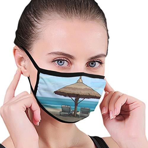 Bgejkos Unisex Seaside with Beach Umbrella and Sun Loungers 6.8x4.7x10.8 Inch Anti Dust Cover Face Mouth Cover, Fashion Reusable Washable Outdoor Unisex Cover