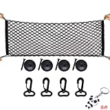 Sicai Cargo Nylon Net, 4 Hooks Car Trunk Universal Cargo Net Elastic Nylon Mesh Storage Organizer Car Net for Kids Luggage for SUV,Truck Bed or Trunk, Black