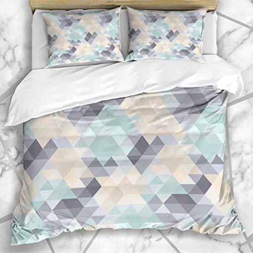 Soefipok Bettbezug-Sets Boden Gelb Hipster Geometrisches Muster Pastelltöne Abstrakt Blaues Dreieck Harlekin Wandfarbe Retro Mikrofaser Bettwäsche mit 2 Kissenbezügen