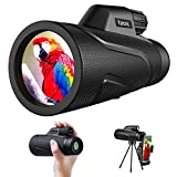 Monocular Telescope, BAK4 Prism Waterproof Lens Day & Low Night Vision Spotting Scope, 12x42 High Powerful Monocular for Smartphone with Holder & Tripod, Prefect for Bird Watching Hiking Camping