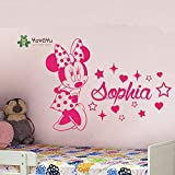 fancjj Wandaufkleber Nette Liebe Minnie Mouse Name Wandtattoo Kinder Gril Zimmer Personalisierte Name Stern Ornamente Decor Poster 57X76 cm