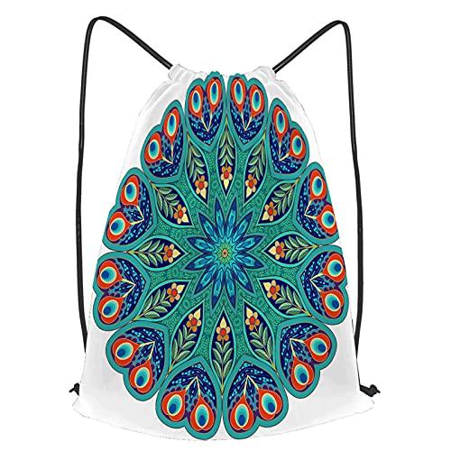 Unisex Wasserdicht Kordelzug Rucksack Hintergrund mit einer runden Verzierung.Orientalisches Blumenmuster aus Paisley mit Turnbeutel Sporttasche für Yoga Freien Schule Strand Schwimmen