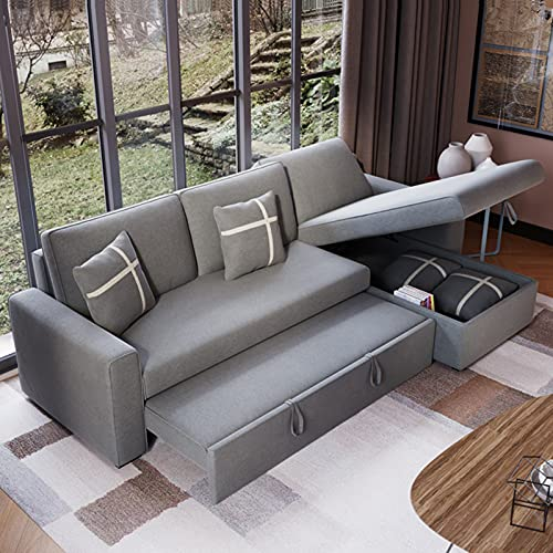 SND-A Folding Sleeper Sofa Bed, 3-Seat Corner Sofa Convertible Bed,Comfortable Fabric Pull-Out Futon Couch with Practical Storage Box Function for Living Room Apartment Furniture,2.6M