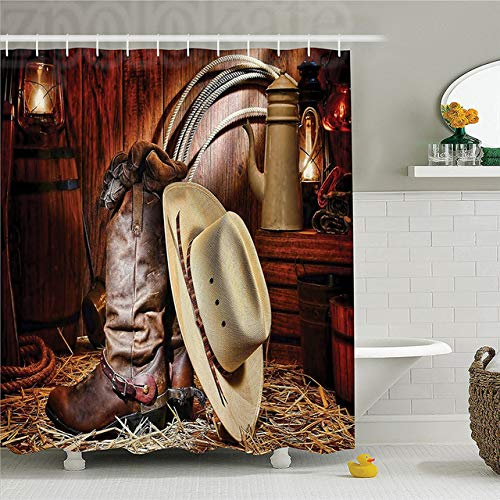 CHENHAO Cortina de Ducha Lavable decoración Occidental Conjunto auténticos Elementos de Rodeo del Oeste Americano con Suministros de Rancho Antiguo Arte Retro Impermeable 120x180cm
