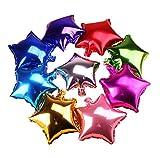 Da.Wa 10pcs de Globos de Papel de Aluminio de Color Mezclado para la Decoración de la Boda del Partido Cumpleaños-Estrella de Cinco Puntas