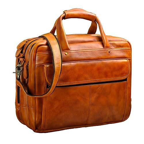 Borsa a tracolla per uomo in pelle olio cerata anticata Cartella porta documenti da lavoro per laptop