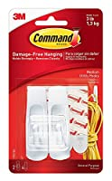 INCLUDES - 2 Medium, white Command Utility Hooks and 4 Medium Command Strips; 1 hook holds up to 3 lbs DAMAGE-FREE ORGANIZATION- Say goodbye to holes, marks, or sticky residue on your walls, doors, cabinets, or closets; Command Hooks by 3M are easy t...