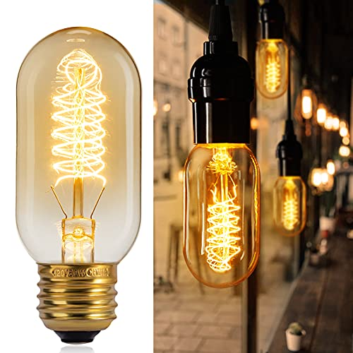 Brightown Amber Edison Light Bulbs 6 Pack 60 Watt Dimmable T45 Antique Spiral Filament Tubular Style Incandescent Lamp Bulb E26 E27 Base 2700K Warm White Squirrel Cage Bulbs for Home Lighting Fixture