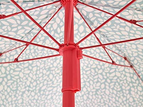 Ombrellone da terrazzo Protezione solare UPF 50 Parasole pieghevole Tessuto stampato e barra di colori Base non inclusa Ezpeleta Ombrellone da spiaggia | Diametro 155 cm Tessuto stampato Include fodera