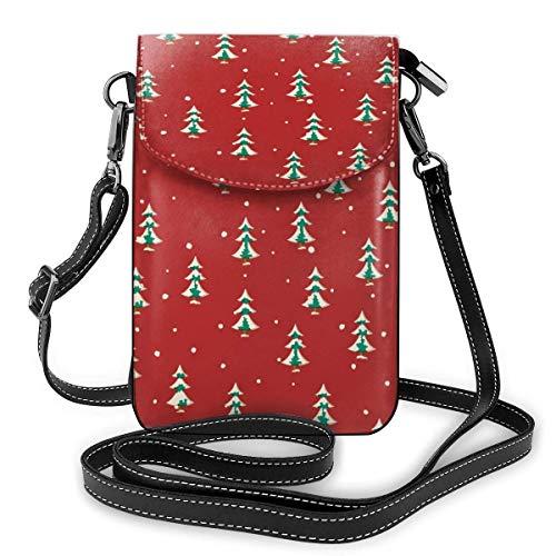 Lawenp Bolso de lona pequeño y lindo para mujer, con bandolera, para teléfono celular, con correa para el hombro, perfecto para teléfonos inteligentes de 5.5 pulgadas o menos, patrón de abetos navide