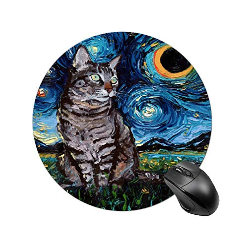 Round Table Mat Gray Tabby Tiger Cat Starry Night Round Mousepad for Laptop, Computer & PC, Non-Slip Rubber Base, Waterproof, Customized Gaming & Office Mouse Mat
