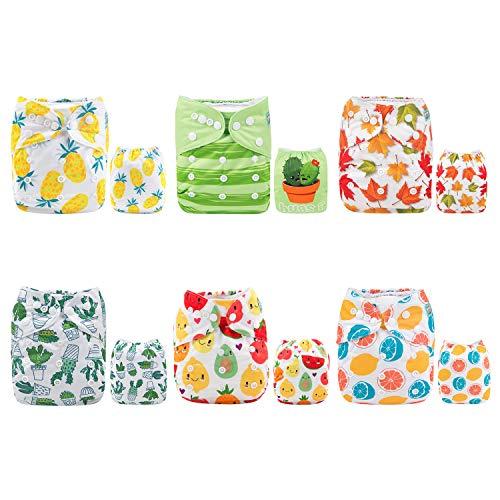 Alva Baby - Pannolini lavabili e riutilizzabili in tessuto, 6 pz, 12 inserti 6DM31-IT
