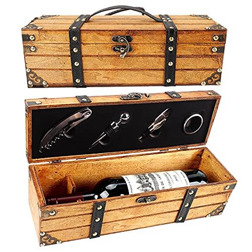 Yobansa Antico Contenitore Scatola per Vino,portabottiglie per Vino,Set di Accessori per Vino,Scatola Regalo di Vino in Legno,Tappo per Vino,versatore Vino,cavatappi per Vino (5set A)