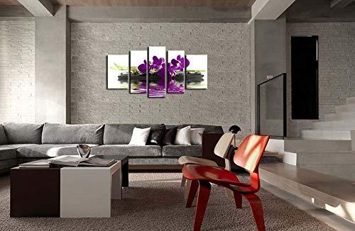 Impresión de lienzo Cuadro de arte de pared Orquídeas Phalaenopsis Flores sobre piedras negras Gotas en agua Mariposa Orquídea 5 piezas Giclee moderno estirado y obra de arte Las imágenes de flor