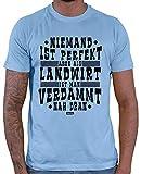 Hariz – Camiseta para hombre, diseño con texto en alemán 'Niemand ist perfek' agricultor' azul cielo S