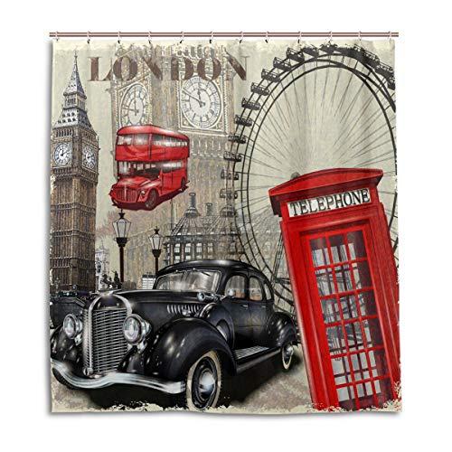 BIGJOKE Duschvorhang, London Vintage Big Ben, schimmelresistent, wasserdicht, Polyester, 12 Haken, 167,6 x 182,9 cm, Heimdekoration