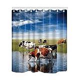 KOTOM Duschvorhang Tier, Kühe Bauernhof auf Rasen in Wasser Wasserdicht Bad Vorhang aus Polyester mit Haken, Zoll 69x 70