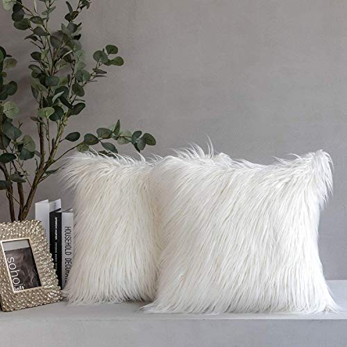 Phantoscope Pack of 2 Faux Fur Throw Pillow Covers Cushion Covers Luxury Soft Decorative Pillowcase Fuzzy Pillow Covers for Bed/ Couch,Cream White 22 x 22 Inches