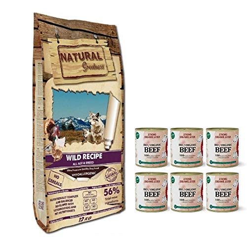 NATURAL GREATNESS - Pienso Natural para Perro Sin Cereales Wild Recipe Pato Pavo y Pollo - Saco 12 Kg   ANIMALUJOS + Caldo Ternera para Perros (Saco 12 KG + 6 LATAS Caldo)
