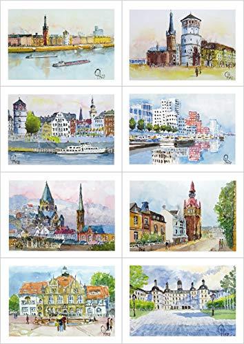 8 Grußkarten, Geburtstagskarten mit Kuvert - BERGISCHES LAND (Düsseldorf, Wuppertal, Bergisch Gladbach)