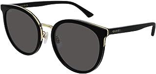 Occhiali da Sole Donna Gucci GG0405SK Web 001 Nero Tondi a Gatto Cat-Eye Grigi