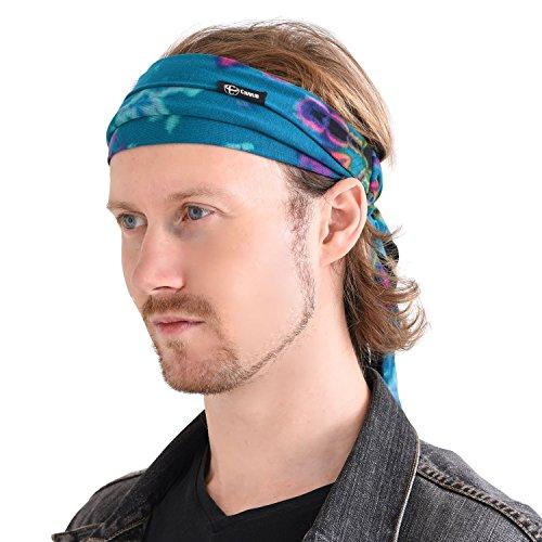 CHARM Tie Dye Stirnband Hippie Elastisch Bandana - Bohemien Kopf Abdeckung Für Männer & Frauen Psychedelisch Blume Muster 60'S 70'S Retro Boho A